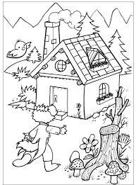 De Wolf Komt Aan Bij Het Huisje Van Oma Kleurplaat