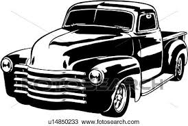 Illustration, lineart, classic, 1949, chevy, pickup, truck Clipart ...
