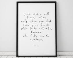 carl jung quote carl jung art inspirational wall art inspirational quotes quote prints quote wall art quote poster quote art black and white on wall art quotes with quote wall art etsy