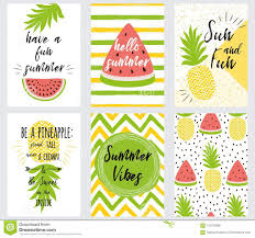 Set Of Bright Summer Banner Summer Quotes Fresh Fruit Vector