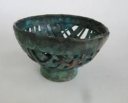 Turquoise Decorative Bowl Handmade Woven Copper Decorative Bowl With Turquoise Patina 98