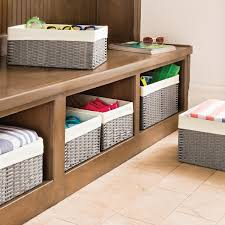 white coffee table with storage baskets collection grey montauk woven rectangular storage bins 19