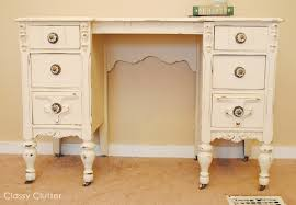 how to antique white furniture. Chalk Paint Desk And Chair Makeover How To Antique White Furniture