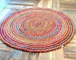 2 round rug vibrant round rag rug fair trade multi coloured cotton jute 1 2 or