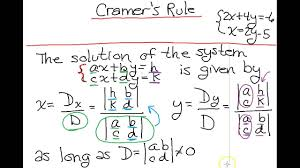 cramer s rule for a 2x2 system of equations