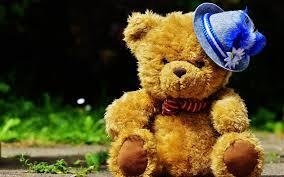 wallpaper cute teddy bear blue hat