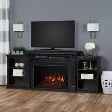 electric fireplace tv stand entertainment center in black