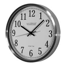 eye catching la crosse technology wall clock at wt 3126b 12 in stainless steel atomic