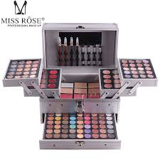 miss rose professional makeup set box in aluminum three layers include glitter eyeshadow lip gloss blush