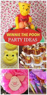 So many cute party decorations and ideas at this Winnie the Pooh girl  birthday party!