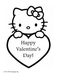 Small Picture Valentines Day Hello Kitty and a Valentines Heart coloring page