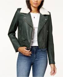 levi s women s green cropped faux fur collar moto jacket
