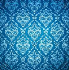 Seamless Damask Blue Wallpaper Stock ...
