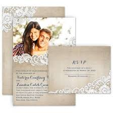 Wedding Invitation With Photo Burlap And Lace Frame Invitation With Free Response Postcard