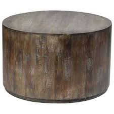 gray wash mango wood round drum coffee table brass nz n