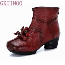 2018 vintage style winter genuine leather women boots thick heels booties soft cowhide womens shoes back