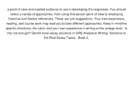 audiobook gre analytical writing solutions to the real essay topics   4 a point of view