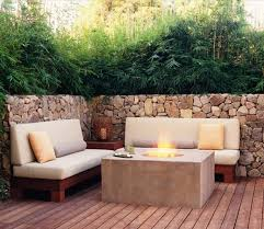 Decorating Wooden Bench With Red Lowes Patio Cushions For Patio