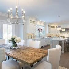 white rustic dining table. white kitchens are back! the new kitchen: grey walls rustic dining table l
