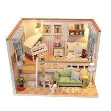 diy dollhouse furniture. MonkeyJack DIY 3D Mini Dollhouse Furniture With Dust Cover Doll Room Decor  Creative Toy Gift - Diy Dollhouse Furniture