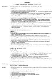 Corporate Affairs Manager Resume Samples Velvet Jobs