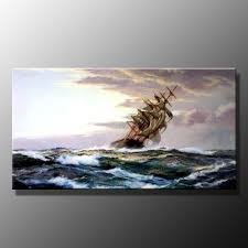 oil painting sea ship marine battle in ocean living room 98 00