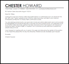 Cover Letter For Sales Associate Fashion Sales Associate Cover