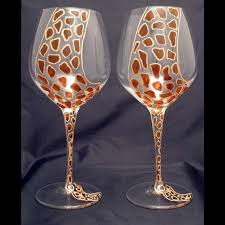 Wine Glass Decorating Designs Hand Painted Giraffe Crystal Wine Glasses Classonglass On Etsy Wine 35