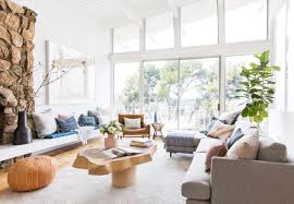 neutral furniture. Emily Henderson Living Room Staged To Sell Boho Mid Century Eclectic Blue White Styled Couch Sectional Neutral Furniture L