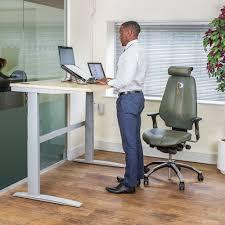 deskrite 500 electric height adjule sit stand desk right corner