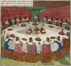 king arthur s knights at the round table see a vision of the holy grail which