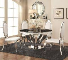 5 pc anchorage collection chrome metal base round dining table set with faux marble top this set includes the table with 4 side chairs