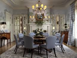 B A Cream And Blue Floral Rug Brings Elegance To Traditional Dining Room By  Scott Snyder