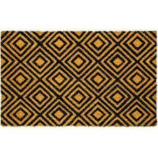 dynamic rugs vale nested diamonds black ivory 18 in x 30 in door mat