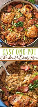 one pot en and dirty rice en thighs are cooked on top of a homemade