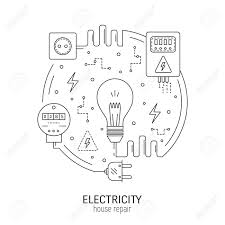 Electricity and energy round concept made in modern line style