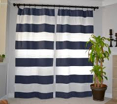 navy blue and white striped shower curtain