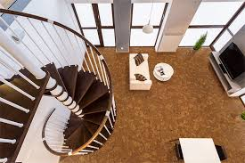autumn ripple beveled cork floor curve wooden stairs spacious living room