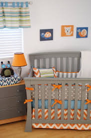 grey crib bedding gray nursery sets baby boy nurseries owl with orange chevron horizontal stripes and