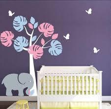 jungle tree baby girl nursery wall vinyl art elephant and butterflies e co friendly vinyl on girl nursery vinyl wall art with jungle tree baby girl nursery wall vinyl art elephant and