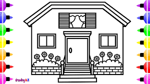 How To Draw House For Kids House Coloring Page For Children With