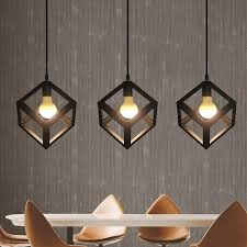 industrial cube metal pendant light accessory loft ceiling lamp for home bar cafe