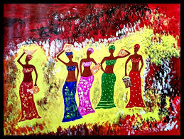african women paintings abstract fine art figurative acrylic by smita