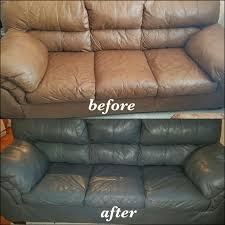 tan leather couch changed to medium grey with slate leather dye before and after