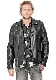guess men s long sleeve all aces moto jacket