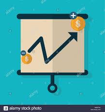 Board Presentation Chart Report Finance Icons Flat Design