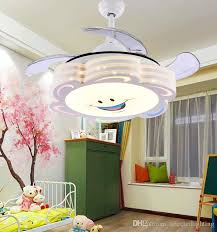 2018 ceiling fans remote control modern retractable blades led ceiling fan dimmable lights cartoon painting 36inch 110v 220v kids lighting from