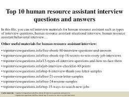 Hr Assistant Interview Questions Top 10 Human Resource Assistant Interview Questions And