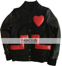 rihanna valentine s day special black red heart leather jacket