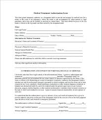 Authorization For Minors Medical Treatment Forms On Childrens ...